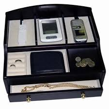 men s black charging valet jewelry box