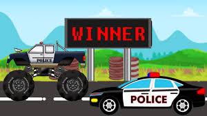 100 Truck Vs Car Police Monster VS Police VS Battle Video For Children