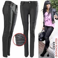 new womens ladies pu biker rib zip jeans leather look skinny