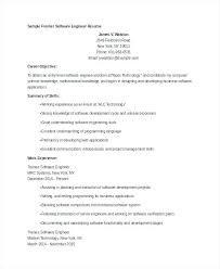 Resume Software Engineer Of An Experienced Test Summary Creerpro