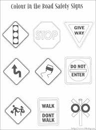 Traffic Safety Signs Coloring Pages