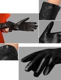 genuine leather gloves women fashion black business thicken five