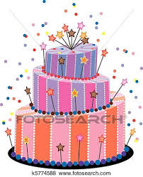Clip Art birthday cake Fotosearch Search Clipart Illustration Posters Drawings