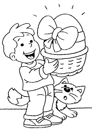 Easter Coloring Pages Boy Cat Egg