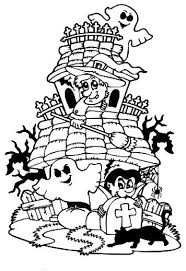 Halloween House Coloring Pages Printable For Preschoolers