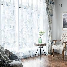 landhaus gardine blau blätter im wohnzimmer zu günstigen