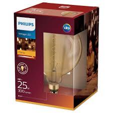 philips led le ersetzt 25w e27 globe g200 klar vintage goldweiß 300 lumen nicht dimmbar energieklasse a