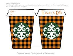 Fall Thanks A Latte Starbucks Gift Card Holder