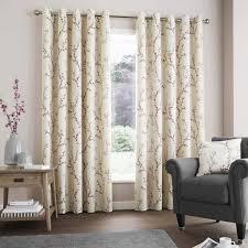 hemsworth floral blossom lined eyelet curtains raspberry