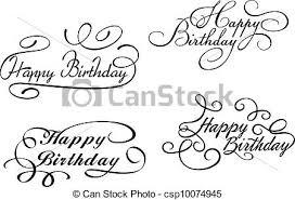Happy birthday calligraphic embellishments set for holiday design