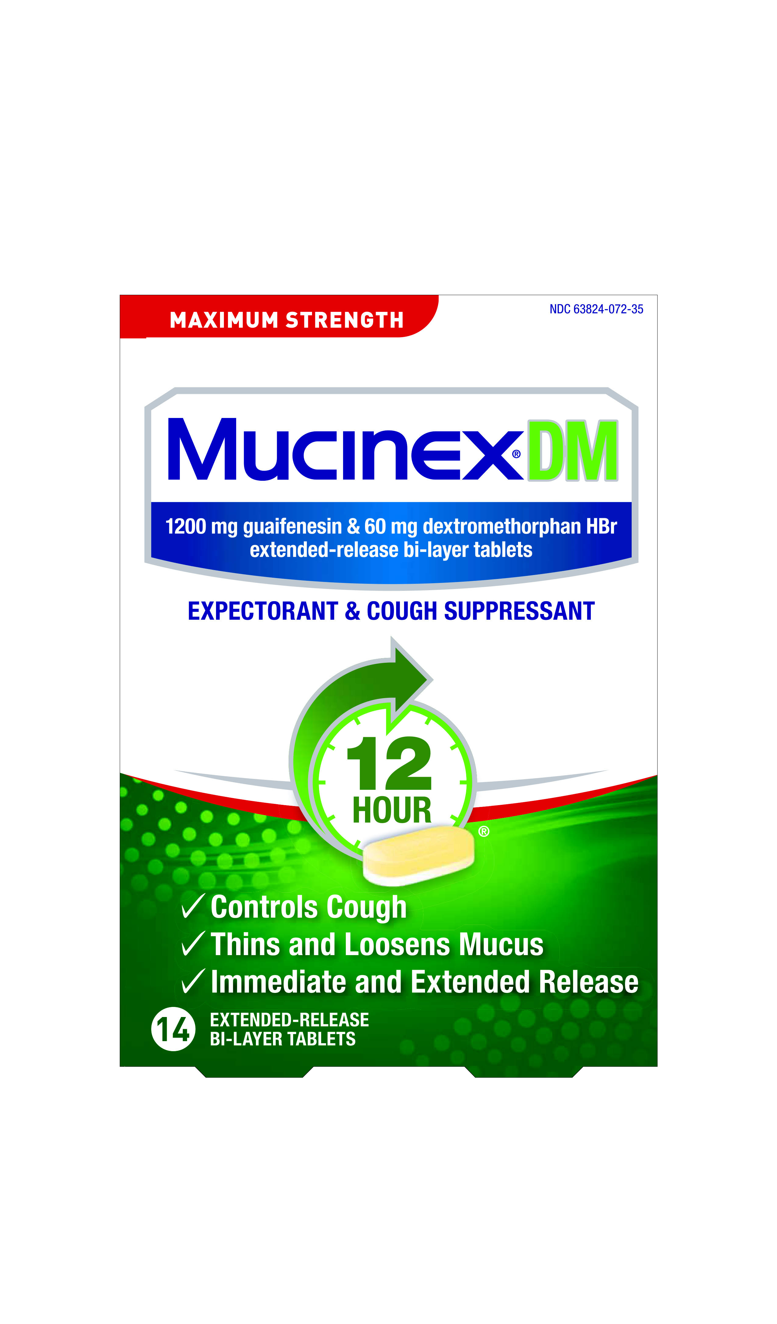 Mucinex DM Expectorant and Cough Suppressant - 14 Tablets