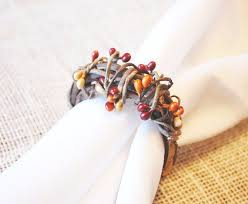 Pip Berry Napkin Rings Set 8 Thanksgiving Rustic Holders