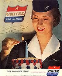 Vintage United Airlines Ad Stewardess