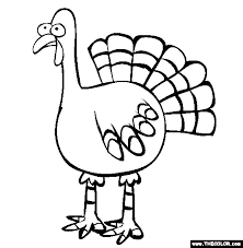 Thanksgiving Feathered Turkey Online Coloring Page