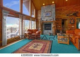 rustikal blockhaus wohnzimmer stock bild k5595550