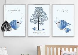 l arbre a cadre nordique simple peint amour oiseau arbre sans cadre peinture