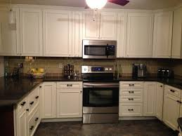 Kitchen Backsplash With White Cabinets L Shape Brown Kitchen