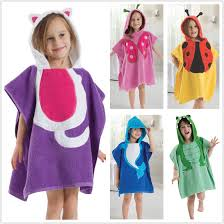 Unisex Kids Hooded Cute Bathrobe Beach Pool Swimming Bath Towels Poncho Style