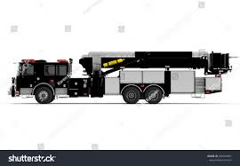 Black Firetruck Left Profile View Isolated Stock Illustration ...