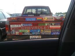 Pickup Truck With Bumper Stickers. Crazy Right Winger? Nope. : Furry Lamedouchey Bumper Stickers And Window Decals Bumper Sticker Switch 2 Gluten Free Carr Dem Stickers So Dull Tailgating Isnt Worth Bother Auto Car Sticker Decal Cowboy Hat Texas Truck Laptop 8 By Past Programs 42015 Womens Voices Raised How To Remove Those Campaign Features Oprah Overrated Pretentious Racist Antiamerican Hypocrite Tom The Backroads Traveller Honk If Youre Horny Funny Crazy Wild Usa Stock Photos Curious Tags Windshield