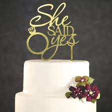 She Said Yes Mirror Gold Acrylic Engagement Ring Wedding Cake Topper