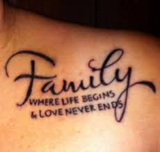 Black Ink Nice Family Quote Tattoo