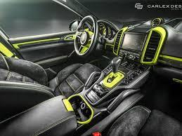This Fluorescent Porsche Cayenne Interior Will Hurt Your Eyes