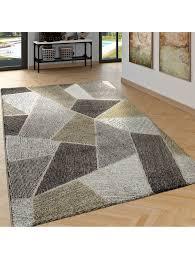 paco home edler designer teppich wohnzimmer hoch tief effekt rauten modern grau klingel