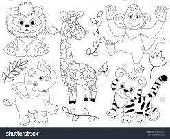 Jungle Animals Clipart Black And White