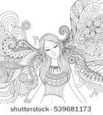 Page For Coloring Book Very Interesting And Girl Listening To Music Happily Zendoodle Design Banner Card T Shirt Adult