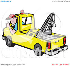 100 Tow Truck Clipart Cartoon Of A Happy Driver Holding A Thumb Up Royalty
