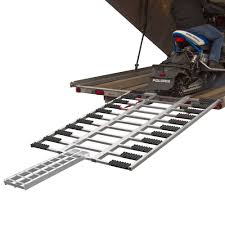 Sled Deck Ramp Width by Black Ice Aluminum Atv And Snowmobile Tri Fold Trailer Ramp