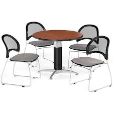 100 Cherry Table And 4 Chairs Round And Stack Chair Set PKGBRK175001 StackLesscom