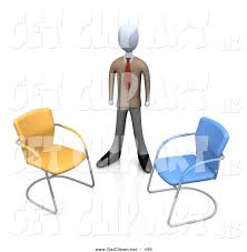 3d Clip Art Of A Businessman In Brown Suit Standing Between An Orange And