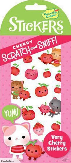 Peaceable Kingdom Scratch and Sniff Scented Sticker Pack - Very Cherry