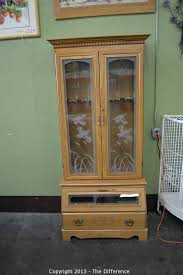 Wooden Gun Cabinet With Etched Glass by The Difference Auction Multiple Unique Estate Up For Auction