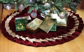 Velvet Christmas Tree Skirt Burgundy And Gold Satin