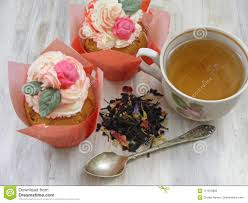 Afternoon Tea With Flowers Cupcakes In Vintage Teacup Old Silver Spoon And Petals Brew Flat Wiev