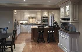 Delightful White Cabinets And Wooden Island For Open Kitchen Remodel In Small Space Using Recessed Lighting