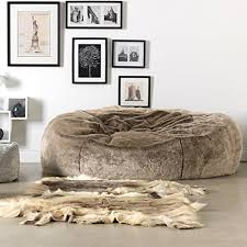 ICON Ottawa Cloud Luxury Extra Large Soft Faux Fur Bean Bag Chair For Two People