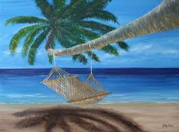 Hammock In A Palm Tree Painting by Donna Muller