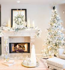 Hayneedle Flocked Christmas Trees by Elegant Gold And Silver Christmas Family Room Reveal Design