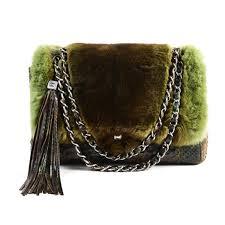 chanel chinchilla fur and python jumbo classic handbags exotic