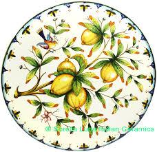 Tuscan Decorative Wall Plates by Italian Ceramic Art Pottery Plate Serving Tray Lemon Handmade In