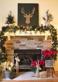 Brown And Red Rustic Reindeer Mantel Christmas MantlesRustic ChristmasChristmas Fireplace