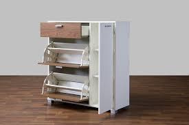 Simms White Modern Shoe Cabinet by Baxton Studio Chateau Storage Cabinet White Walnut Wholesale