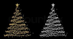 Set Of Rwo Vector Christmas Tree Gold And Silver