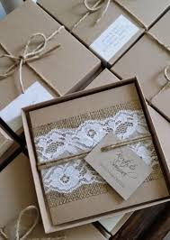 Knots And Kisses Wedding Stationery Rustic Lace Hessian Boxed Invitations