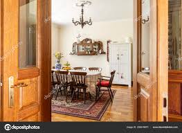 Real Photo Antique Dining Room Interior Big Table Chairs ...