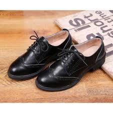 Womens Leila Black Flats Boots Ankle Lace Up Oxfords Vintage Shoes Image